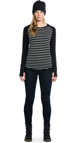 Mons Royale W's Rocker Raglan LS Stripes/Black